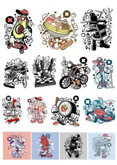 Stikers Set Free Vector
