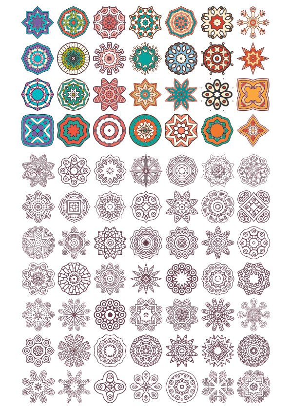Vector Mandala Ornaments Free Vector