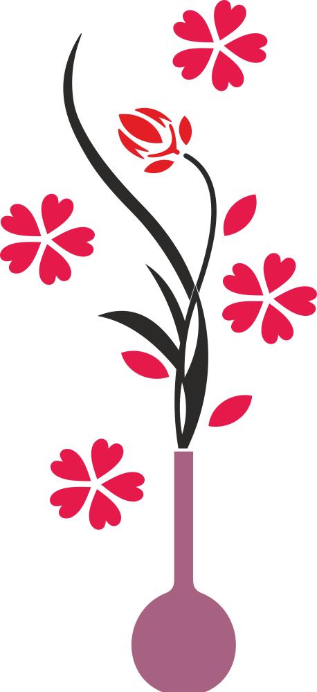 Flower Vase Wall Decals