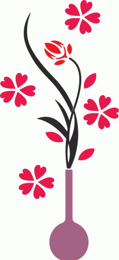 Flower Vase Wall Decals Free Vector