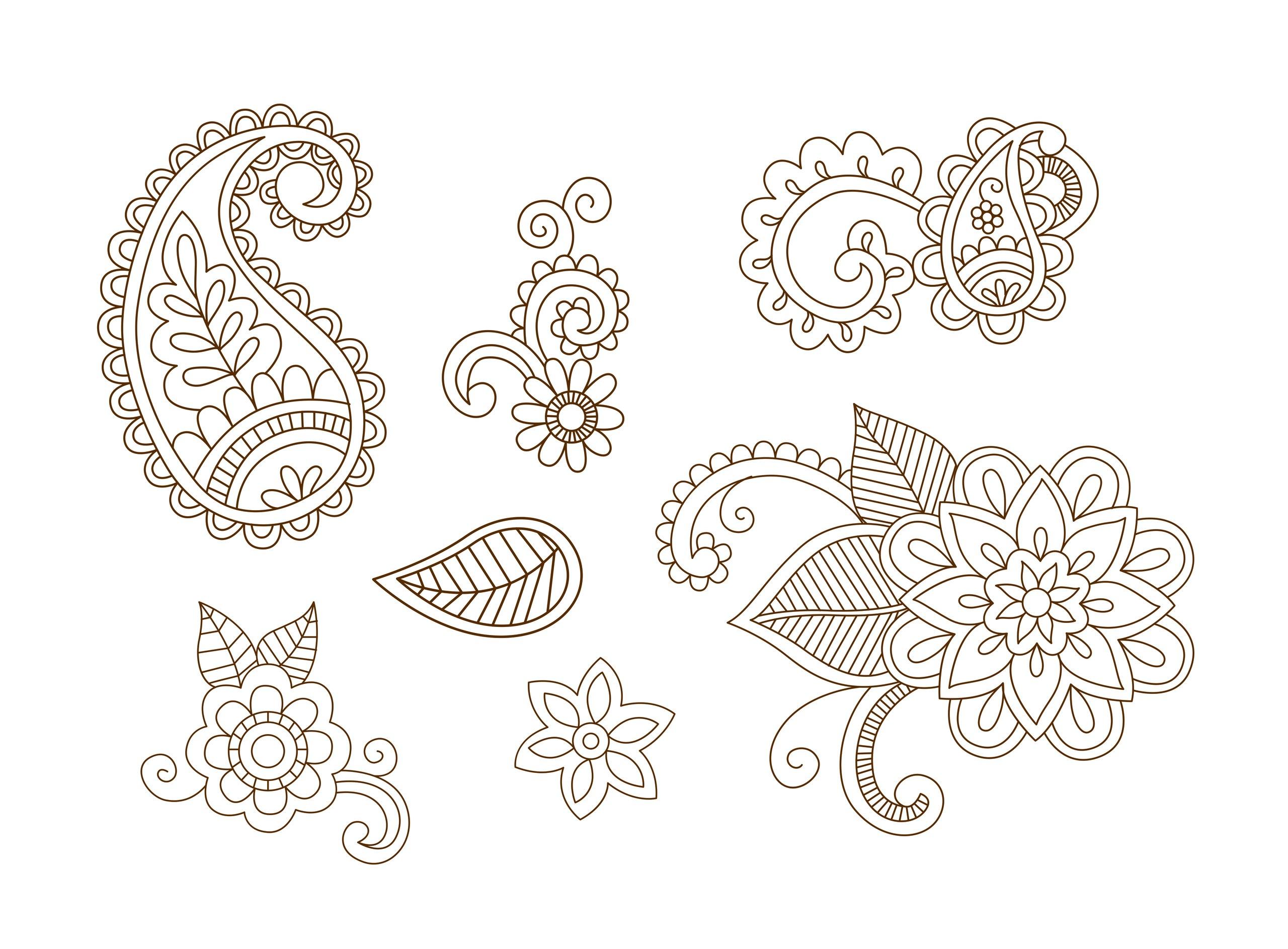 Henna Vector Set Vector Art Free Vector