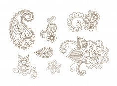 Henna Vector Set Vector Art Free Vector
