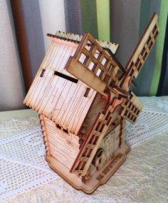 Laser Cut 3D Windmill Free Vector