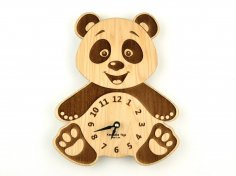 Panda Clock 3D Puzzle Laser Cut