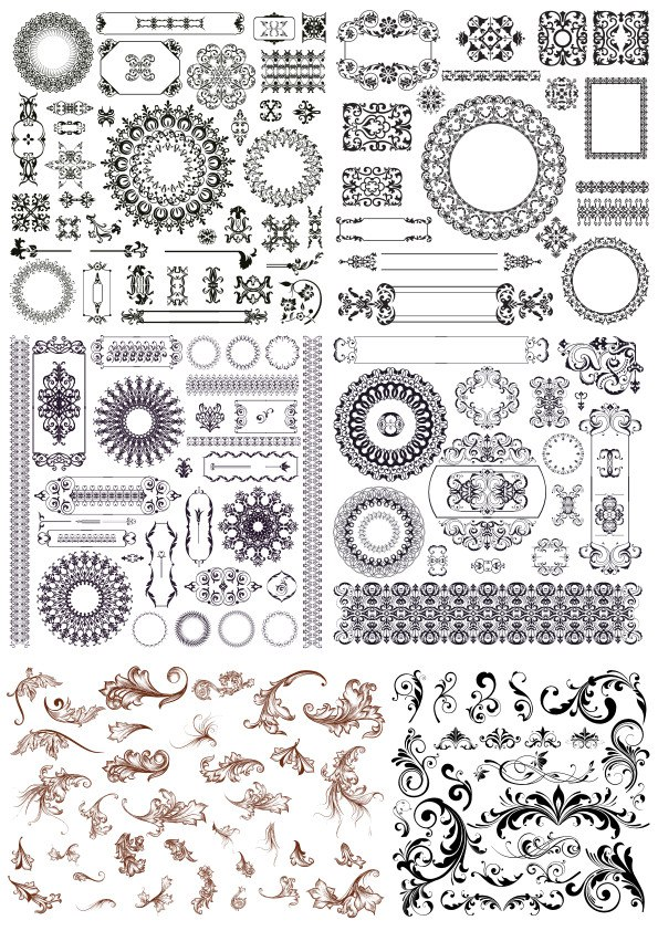 Set of Decor Elements Free Vector