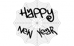 Happy new year web dxf File