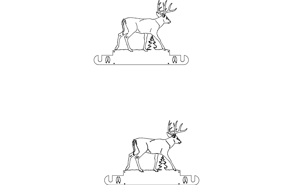 Whitetail Wall Mount Paper Towel Holder dxf File