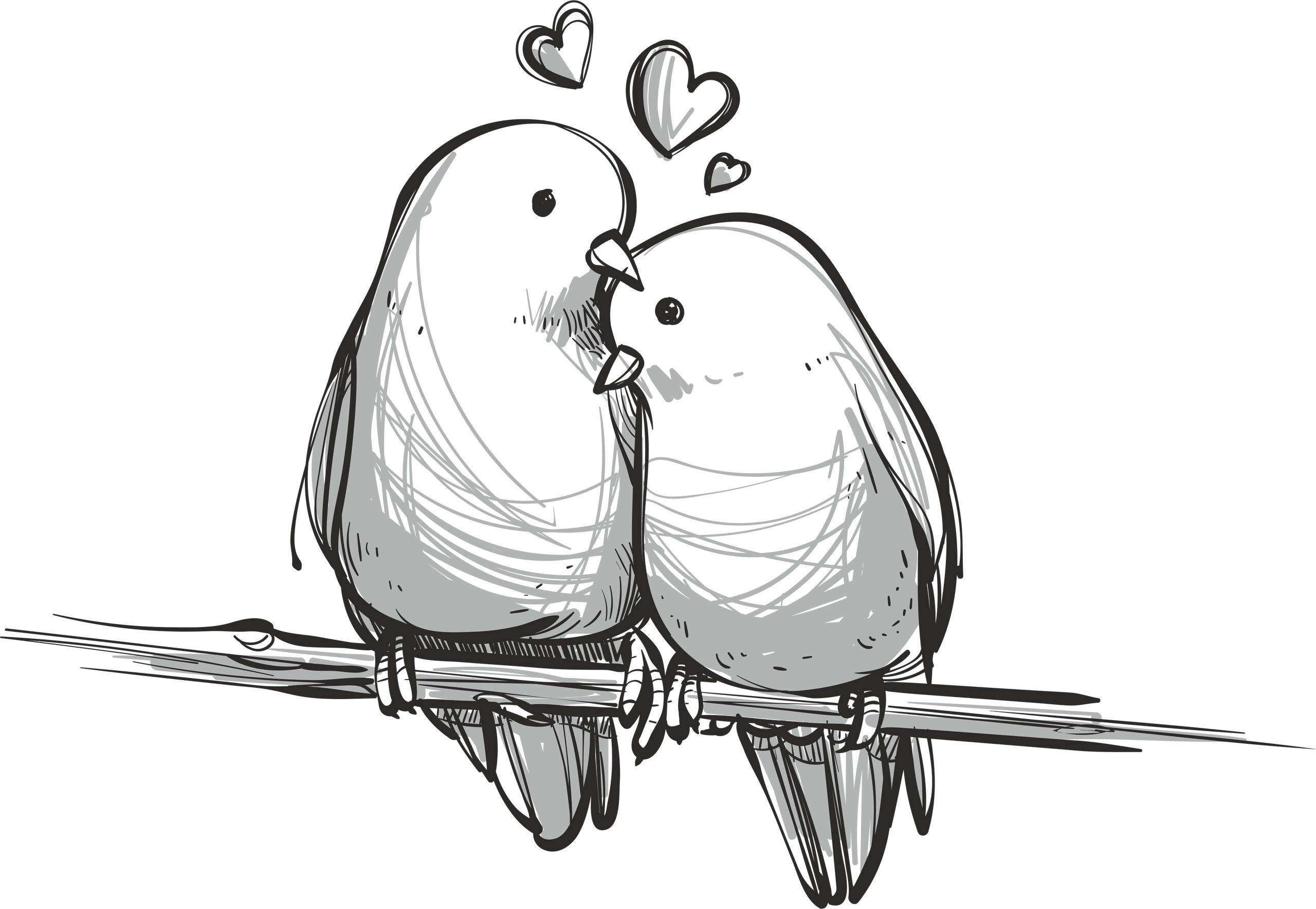 Handdrawn Lovely Birds Free Vector
