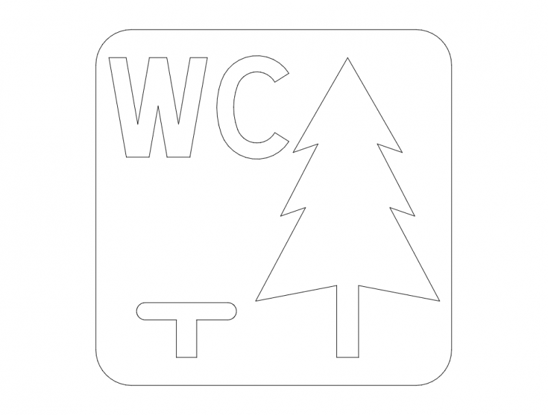 Norwegian service road sign – Rest stop with WC dxf File