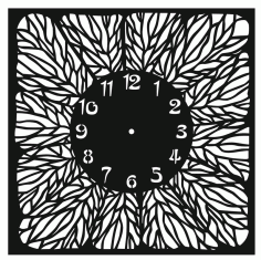 Clock floral pattern CDR File