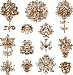 Abstract floral elements in Indian mehndi style Free Vector