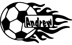 Soccer Ball With Flames And Name dxf File