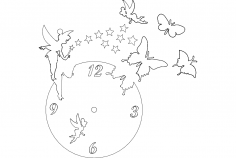 Clock Butterfly Fairy dxf File