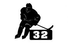 Hockey Player With Number dxf File