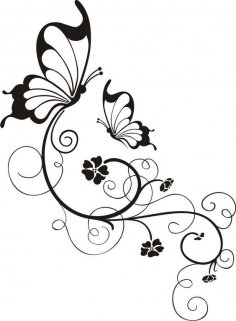 Swirly Butterfly And Flower in Black And White dxf File
