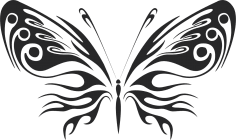 3d butterfly wall sticker black Free Vector