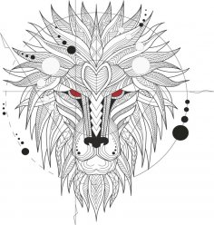 Ferocious Lion Head Totem Free Vector
