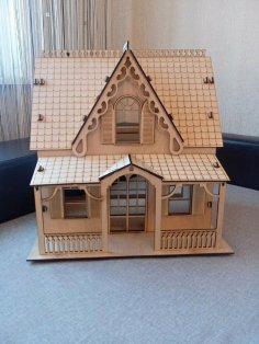 Laser Cut Plywood Model House Free Vector