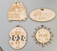 Laser Cut 2020 Themed Christmas Ornaments Free Vector