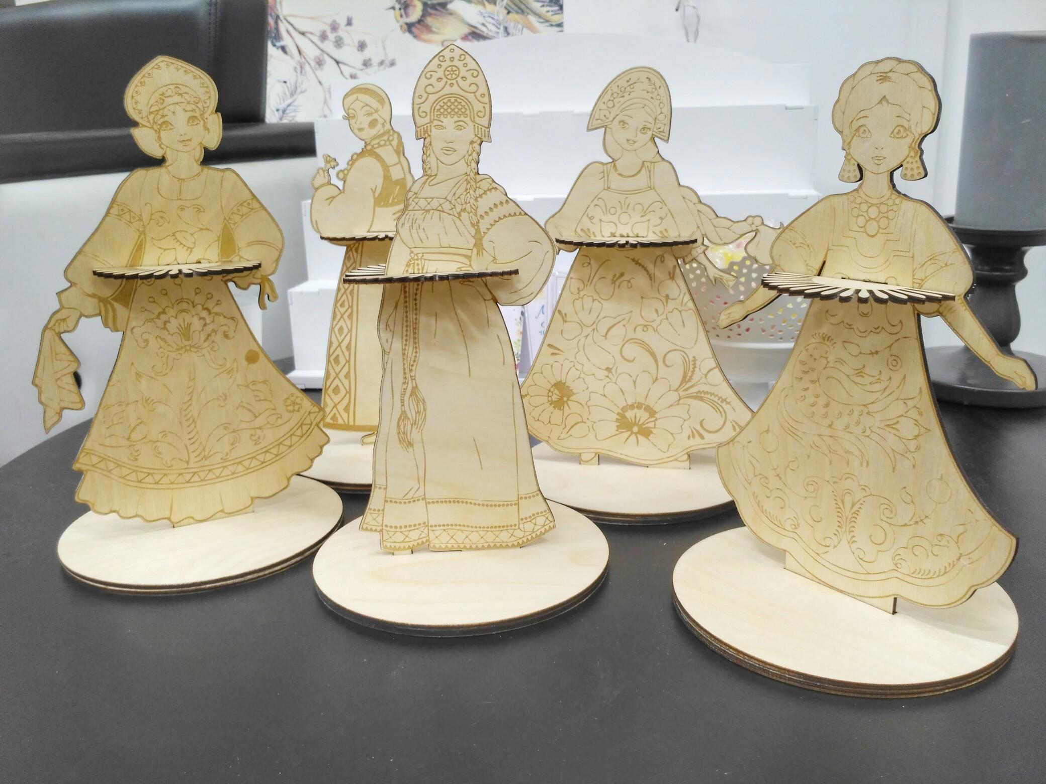 Laser Cut Napkin Holder Slavs Traditional Costume Girls Russian Sarafan Free Vector