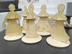 Laser Cut Napkin Holder Slavs Traditional Costume Girls Russian Sarafan Free Vector