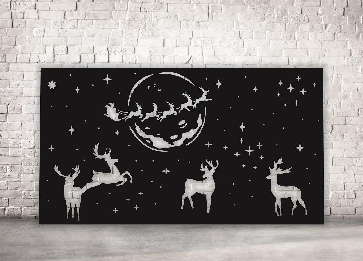 Laser Cut Christmas Panel Reindeer Santa Claus Flying Deer Free Vector