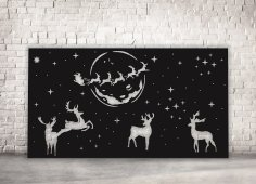 Laser Cut Christmas Panel Reindeer Santa Claus Flying Deer Free Vector