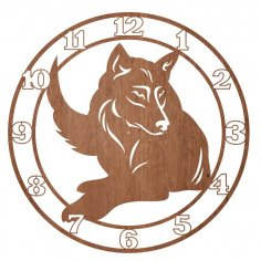 Laser Cut Engraved Wolf Wall Clock Free Vector