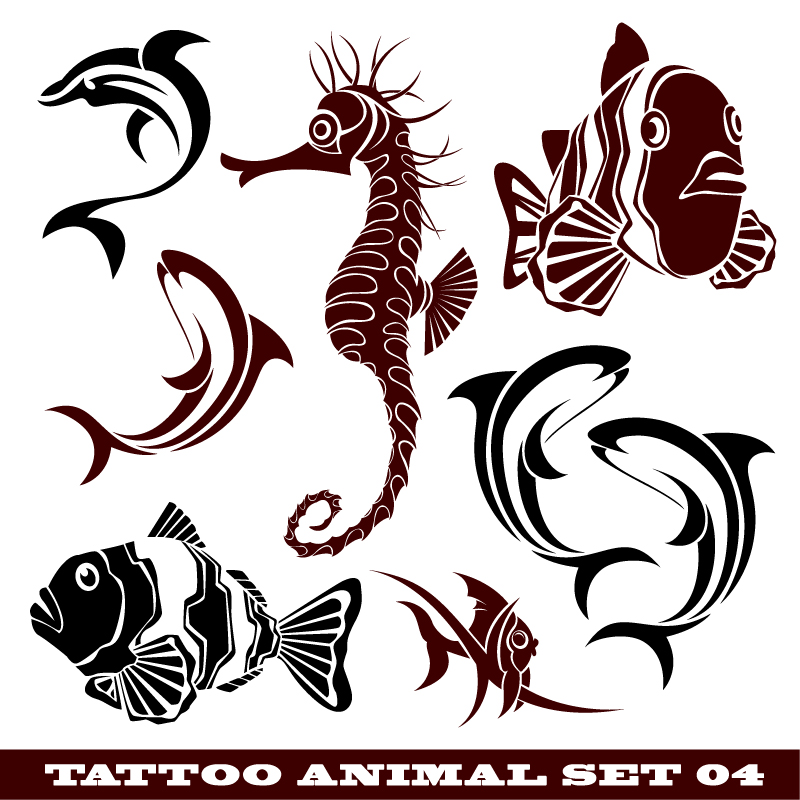Tattoo Animal Vector Set Free Vector