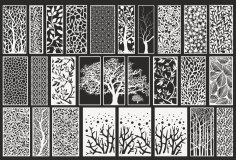 Laser Cut Screen Patterns Ornament Set Free Vector