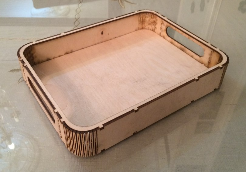 Laser Cut Tray with Handles Free Vector
