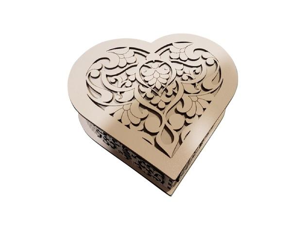 Laser Cut Heart Shaped Gift Box Free Vector