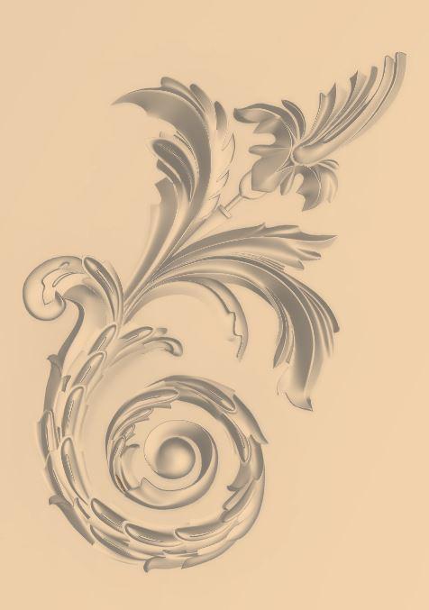 Wood Decoration Carved Floral Design For CNC Router Stl File