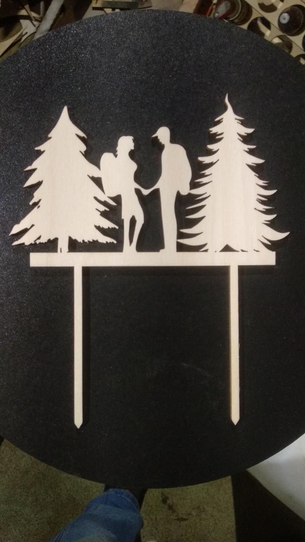 Laser Cut Tourist Couple Topper Free Vector