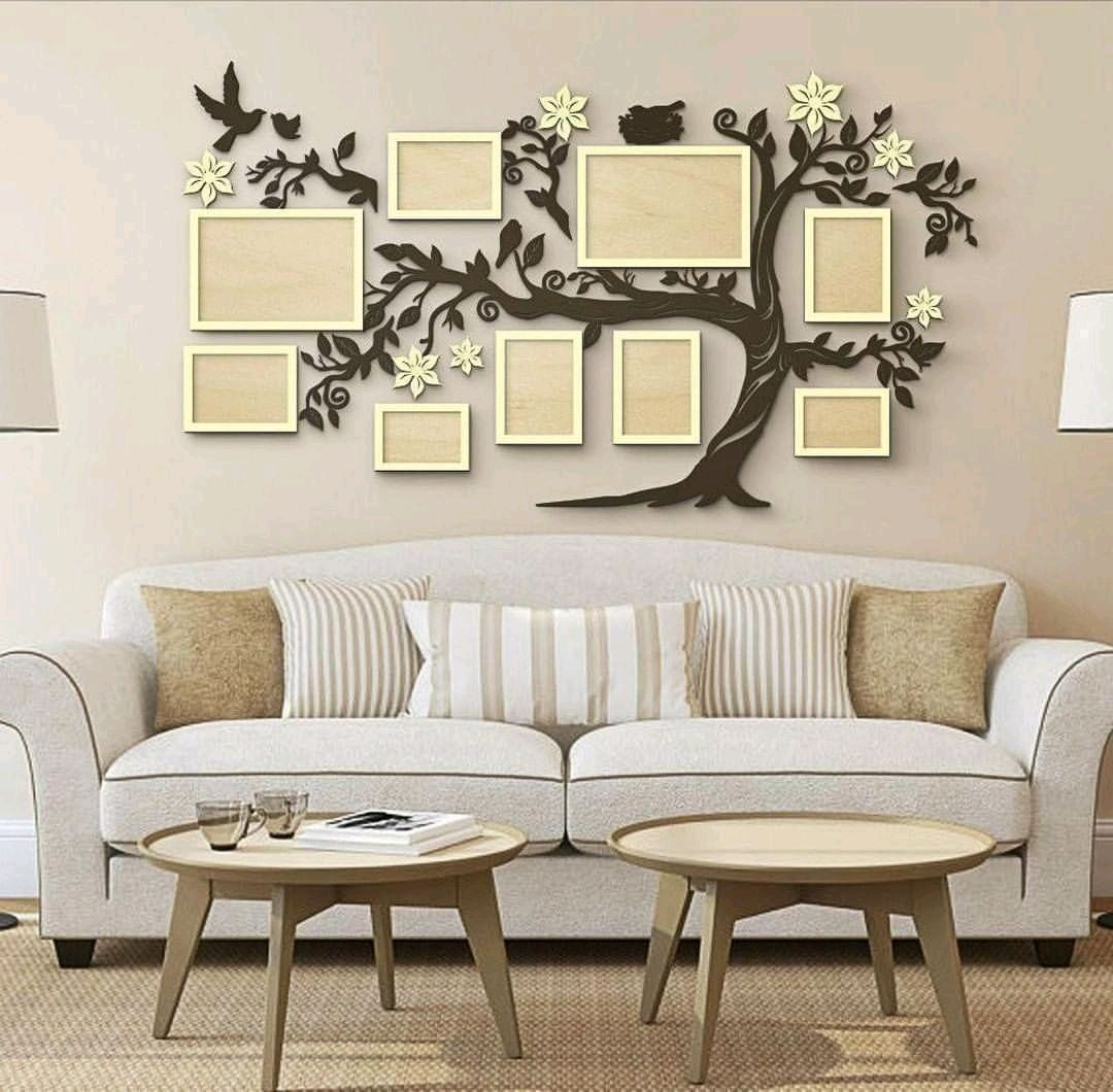 Laser Cut Family Tree With Photo Frames Free Vector