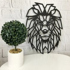 Laser Cut Wall Decor Wood Panel Geometric Lion Head Free Vector