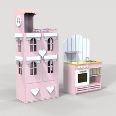Laser Cut Doll House And Miniature Kitchen Free Vector