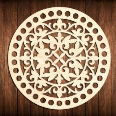 Laser Cut Flower Bottom Circle Wooden Base For Crochet Basket DXF File