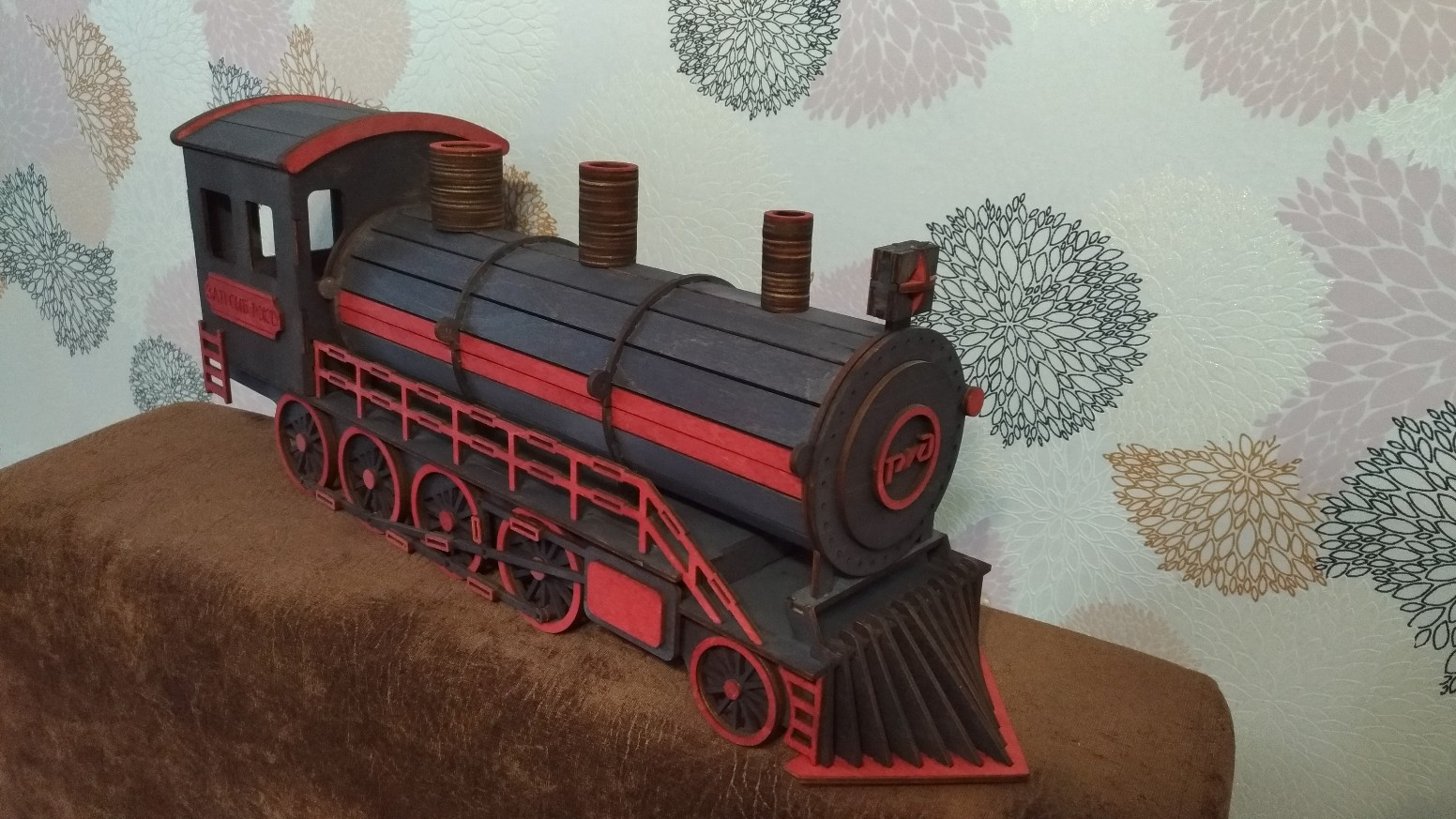Laser Cut Locomotive Gift Box Free Vector