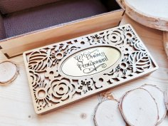 Laser Cut Wooden Decorative Sliding Box Free Vector
