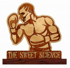 Laser Cut Boxing Wooden Trophy Free Vector