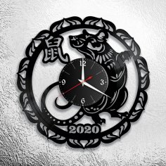 Laser Cut 2020 Year Of The Rat Wall Clock Free Vector