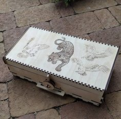Laser Cut Wooden Box With Lid Lion Engraved Free Vector