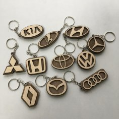 Laser Cut Car Logo Keychains Wooden Car Key Rings Free Vector