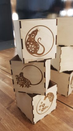 Laser Cut Engraved New Year Decorative Wooden Boxes Free Vector