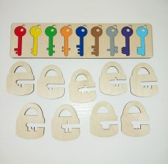 Laser Cut Kids Learning Toys Keys And Locks Free Vector
