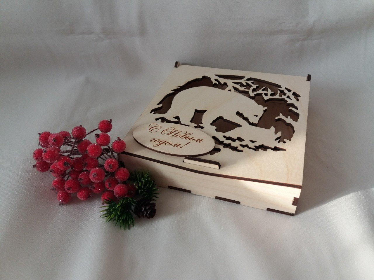 Laser Cut Folding Lid Candy Box Plywood 4mm Free Vector