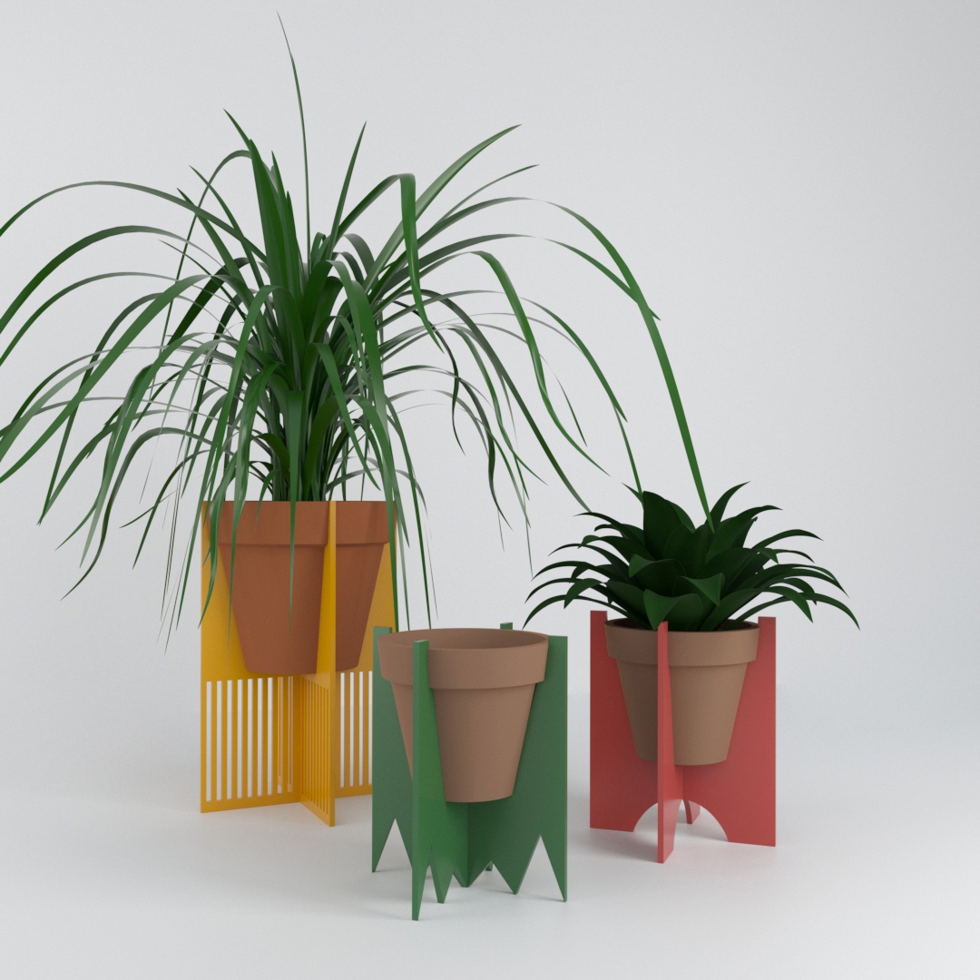 Laser Cut Decorative Plant Stands Free Vector