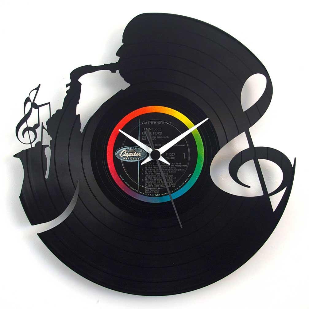 Jazz Clock Vintage Music Clock Saxophonist Clock Vinyl Clock Laser Cut Template Free Vector