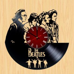 Laser Cut Beatles Vinyl Record Wall Clock Template Free Vector